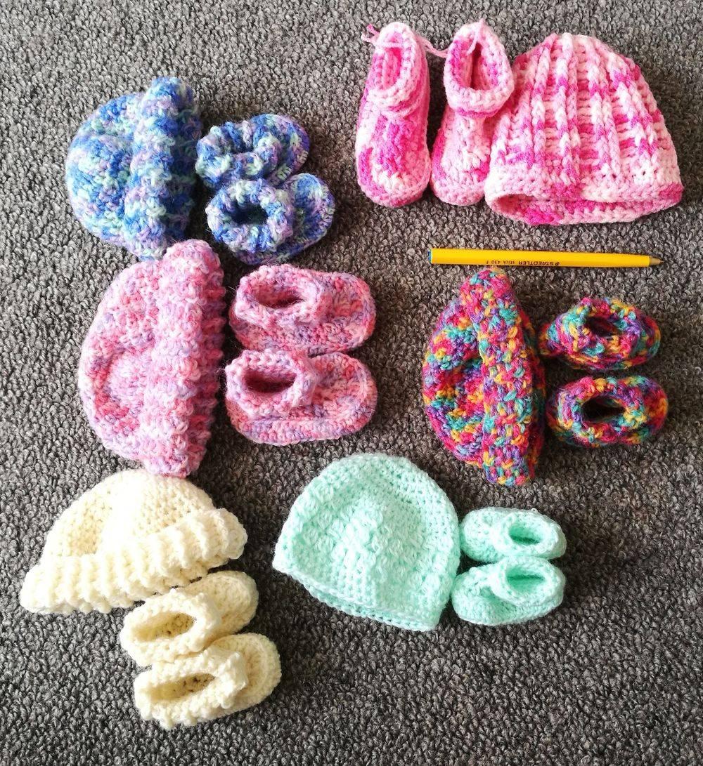 Premature Baby Hat & Bootie Sets Handmade
