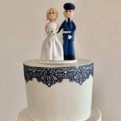 Wedding Cake Navy White Ribbon diamante Buckle Brooch Lace