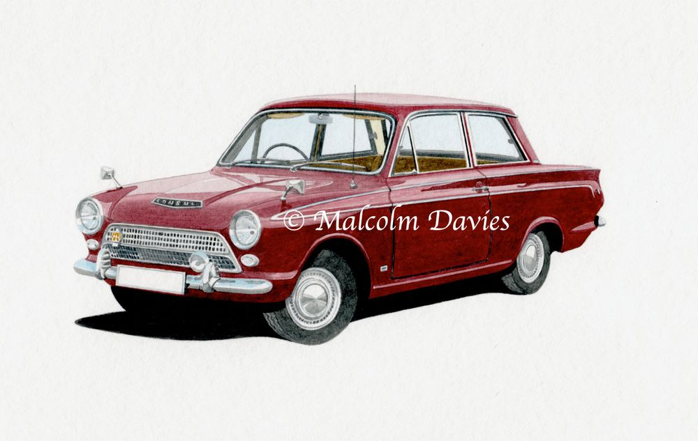 Ford Cortina Consul Mark 1 (Watercolour) : £60