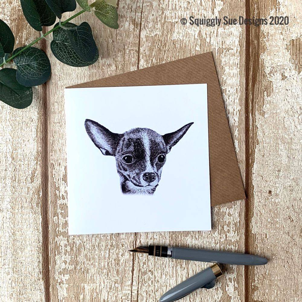 Chihuahua  card from an original pen & ink sketch
