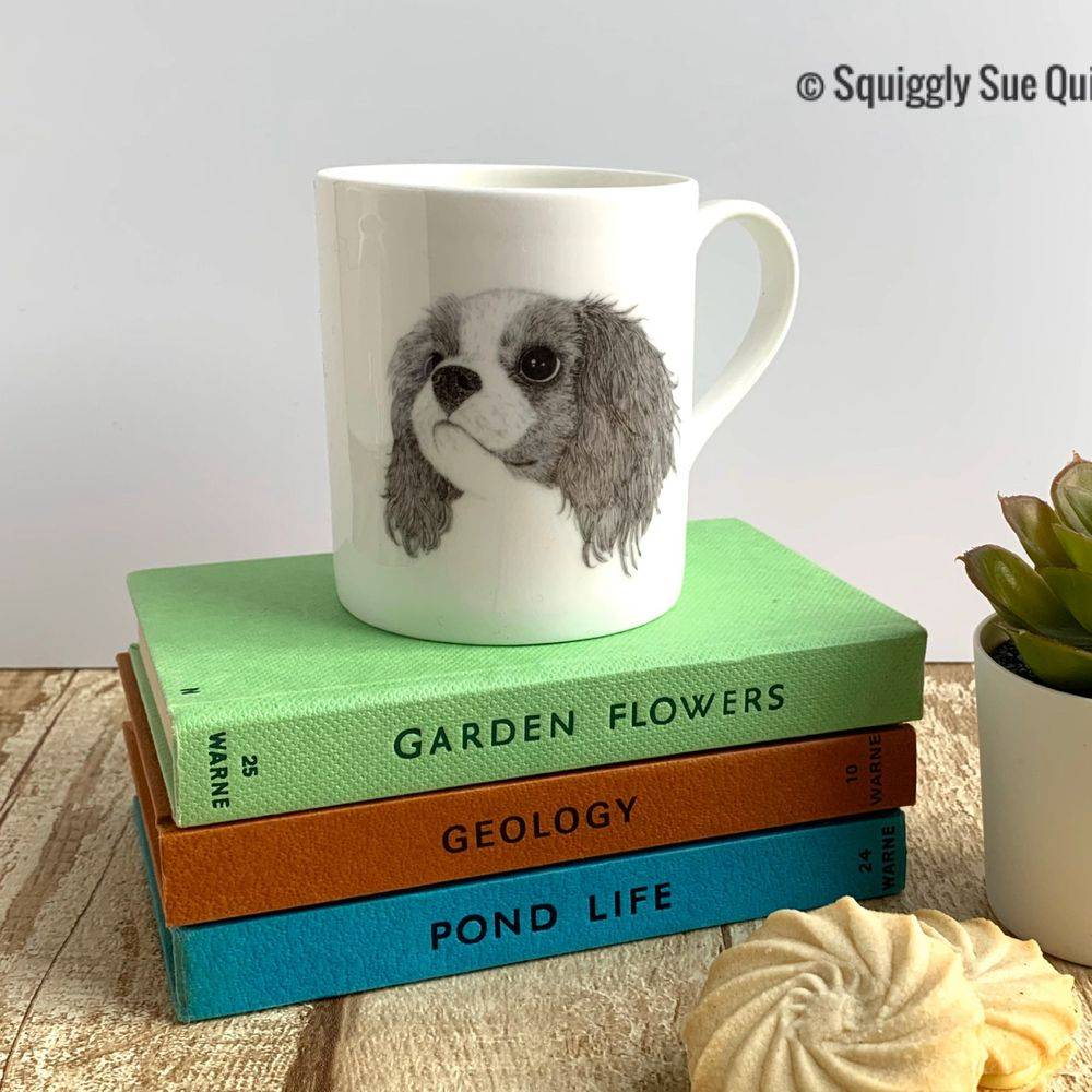 King Charles Cavalier Spaniel Mug Cup from pen & ink sketch