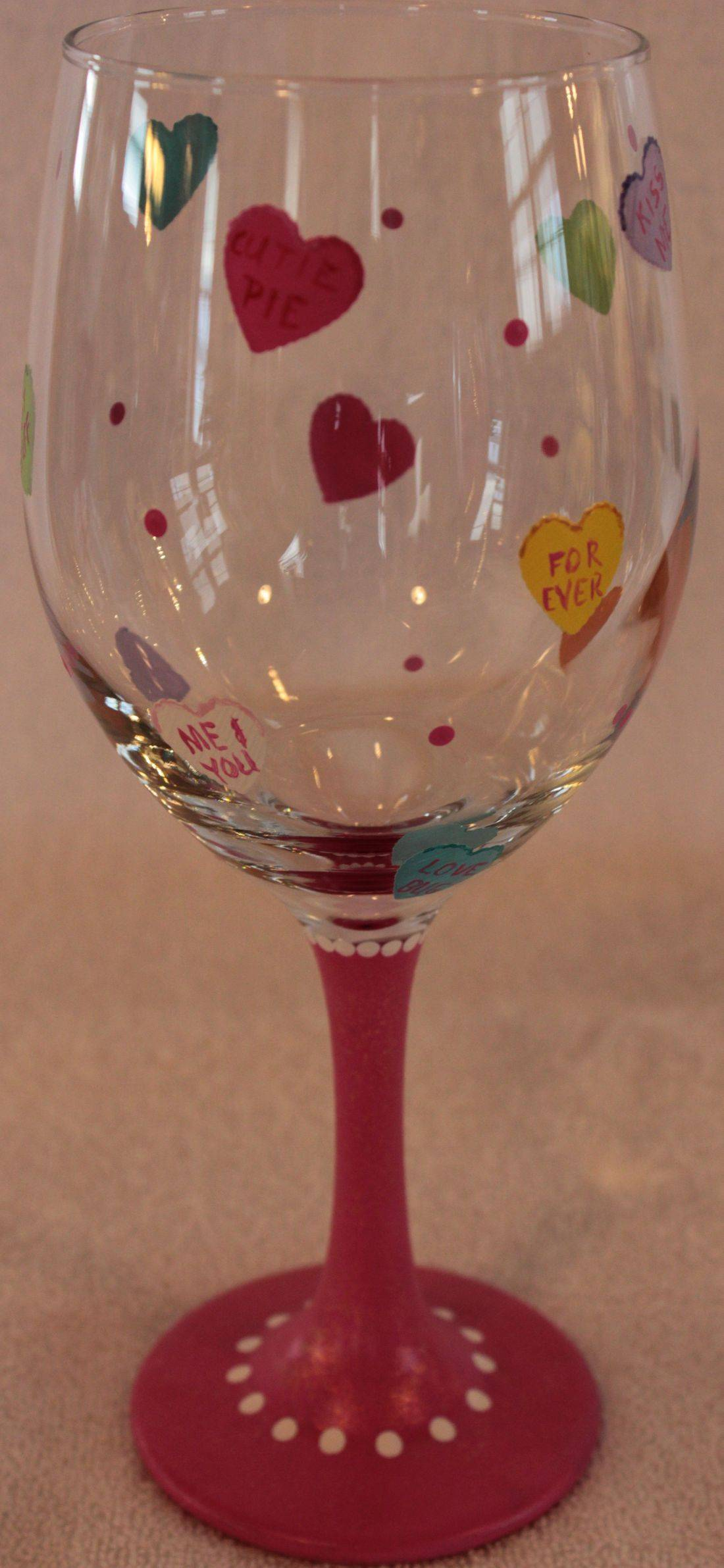 conversation heart wine glass
