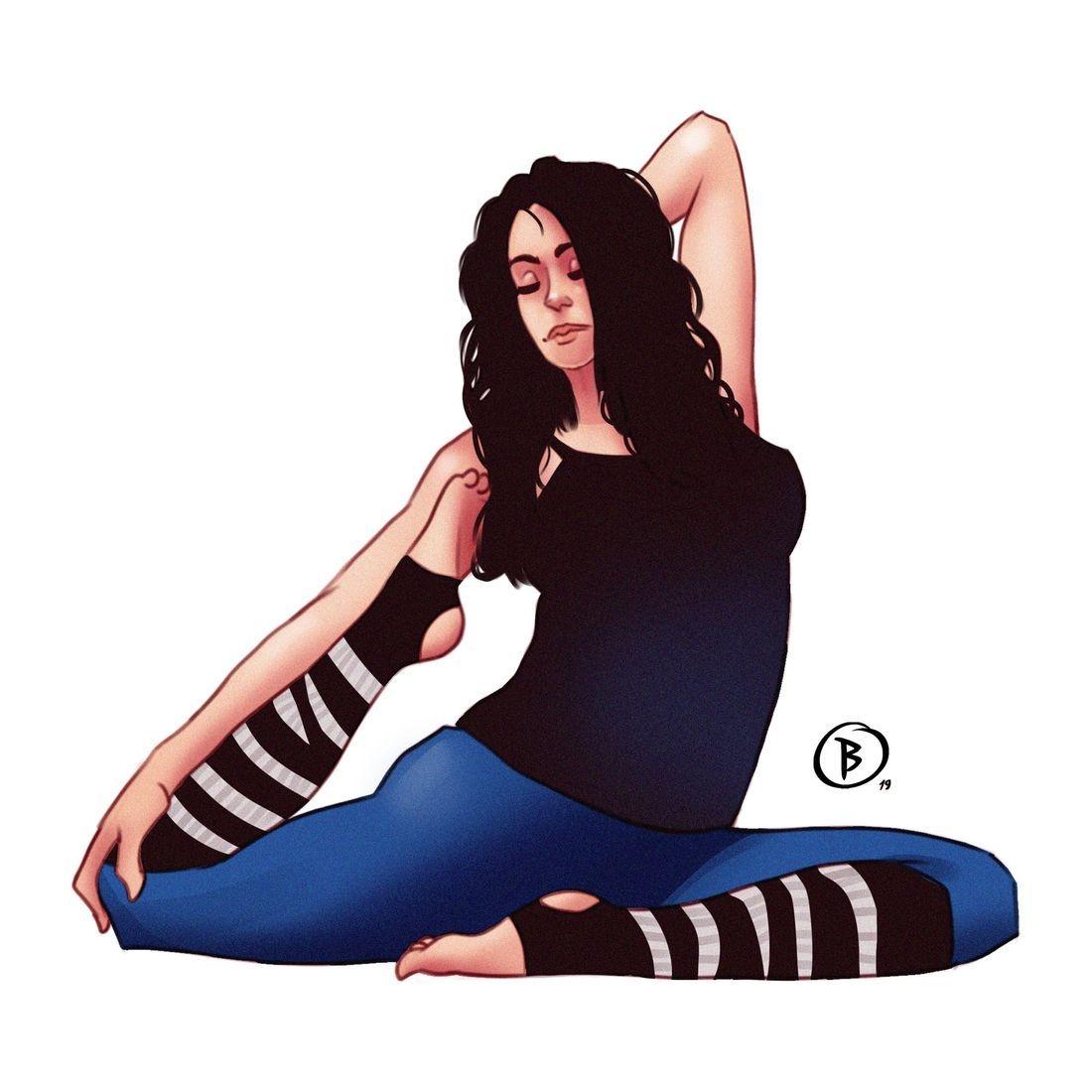 Cartoon Yoga Model Art