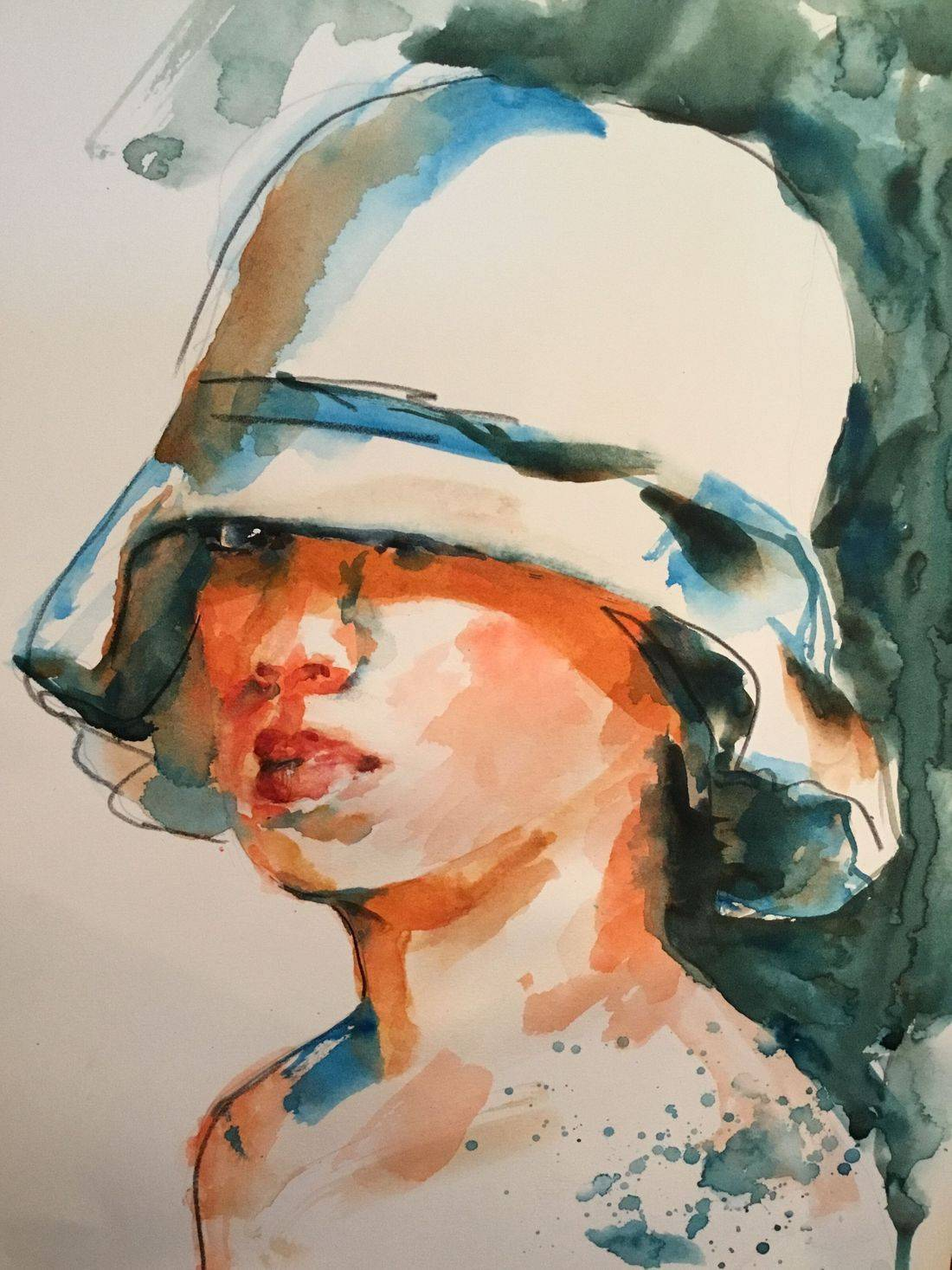 R Putbrese watercolor painting of girl in hat