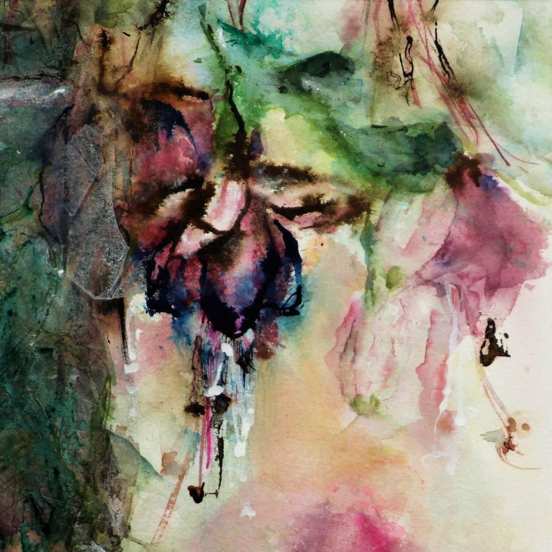 R Putbrese watercolor painting of Fushia floral.