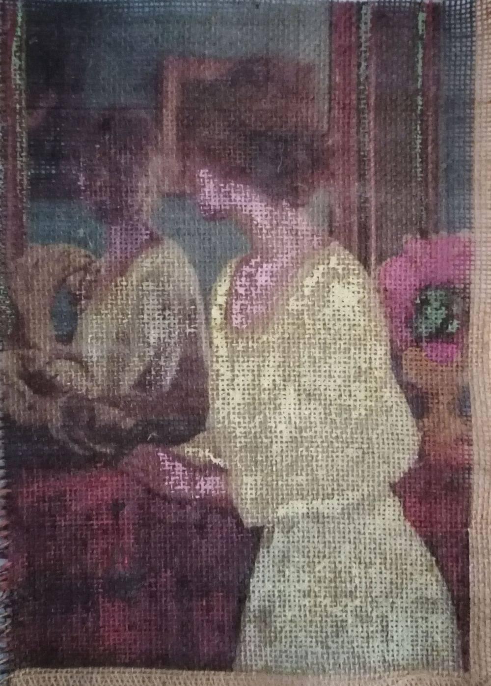 Aquarelle, Textile, Toile de jute, Femme, Histoire de l'art, Portrait
