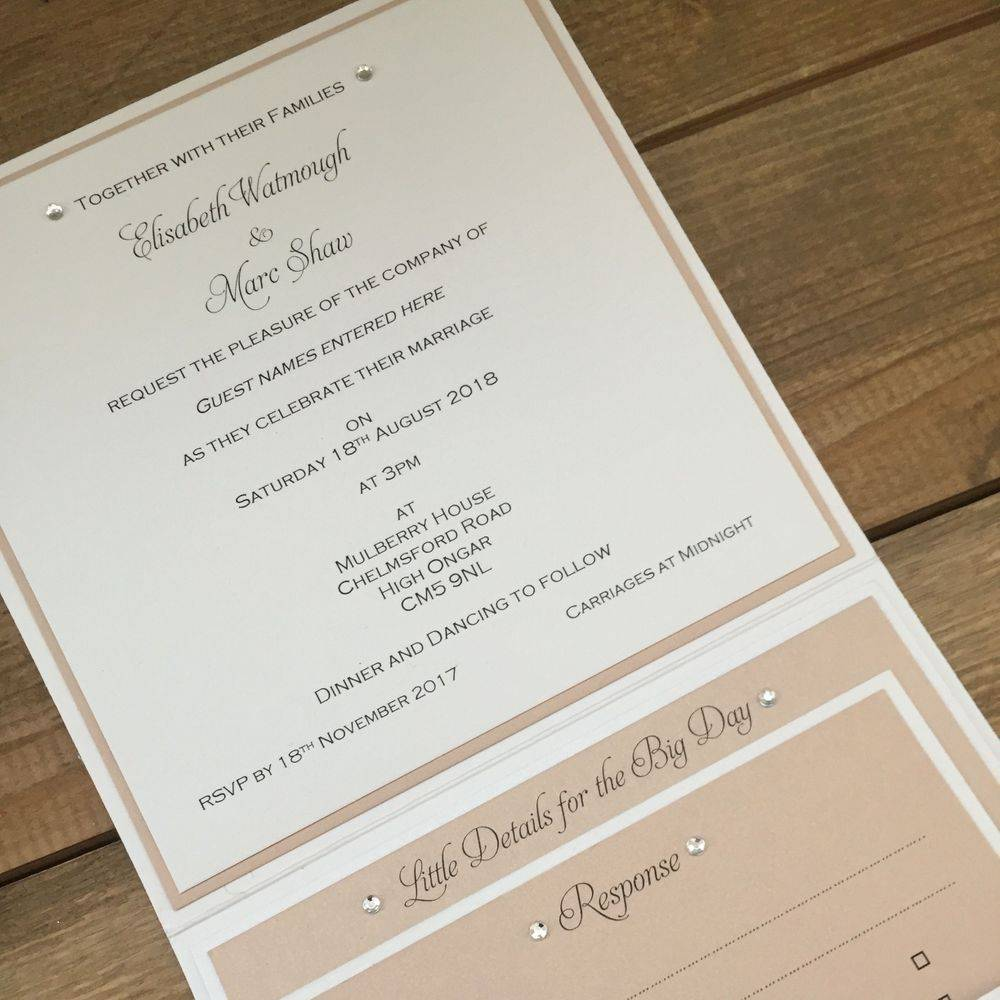 Champagne gold glitter and Ivory wedding invittaion