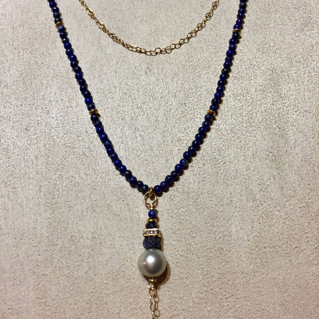 "5"" drop, 23""  Edwardian style necklace with lapis, freshwater pearls on 14k gold filled chain"