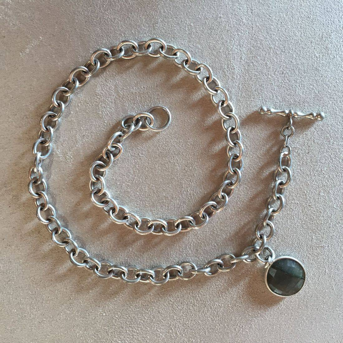 """17"""" Heavy Italian Sterling Silver necklace... great for layering with labradourite pendant... love this piece"""