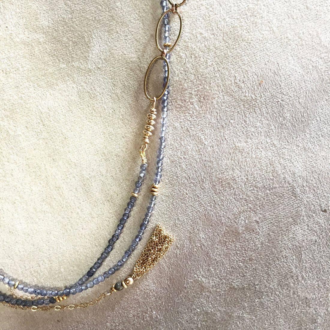 gemstone necklace,14k gold filled chain, gold tassel, wrap bracelet