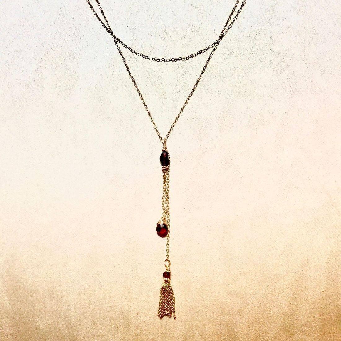 """23""""Red garnet & 14k gold tassel drop necklace, in Edwardian style"""