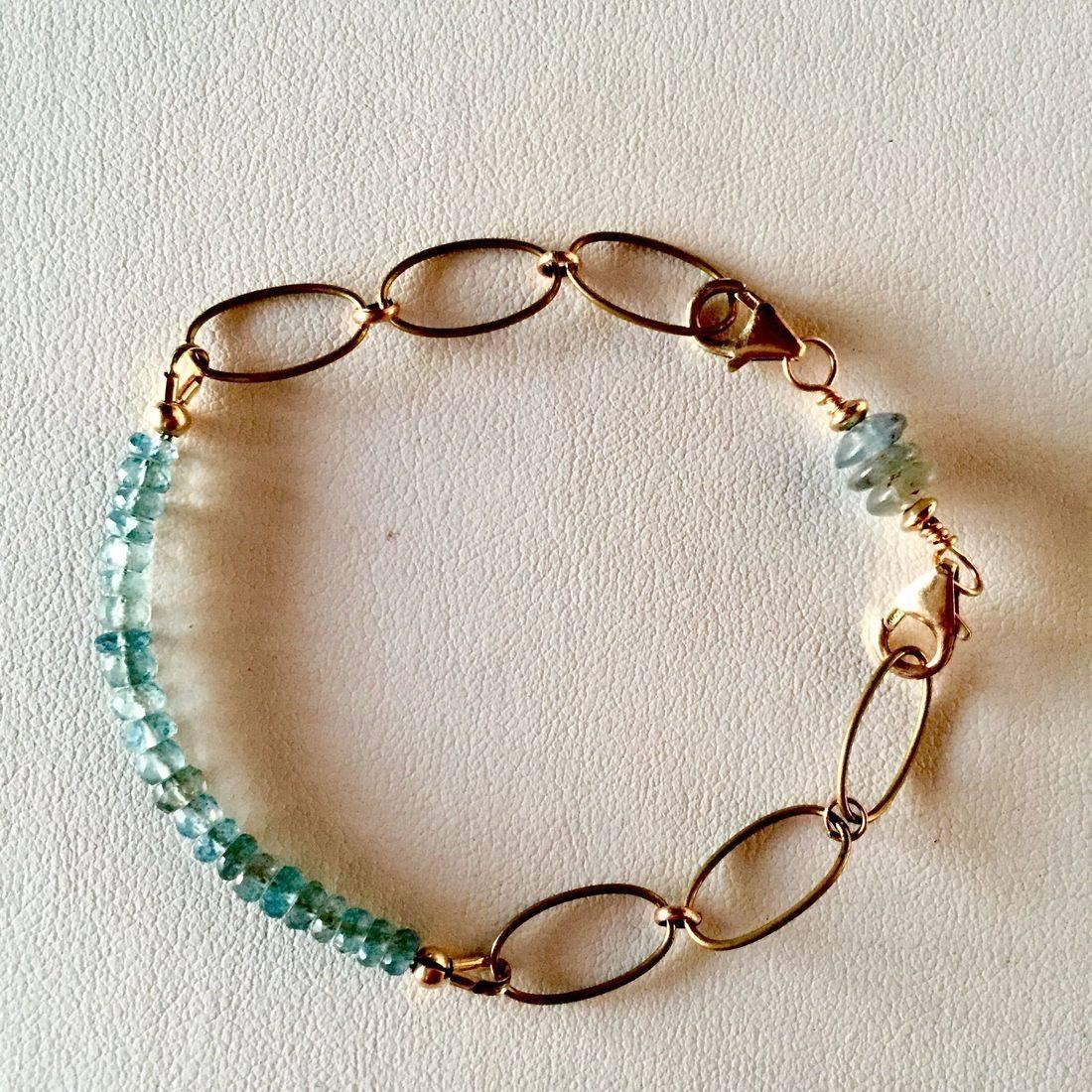 Kyanite and 14K Gold Filled Gemstone bracelet