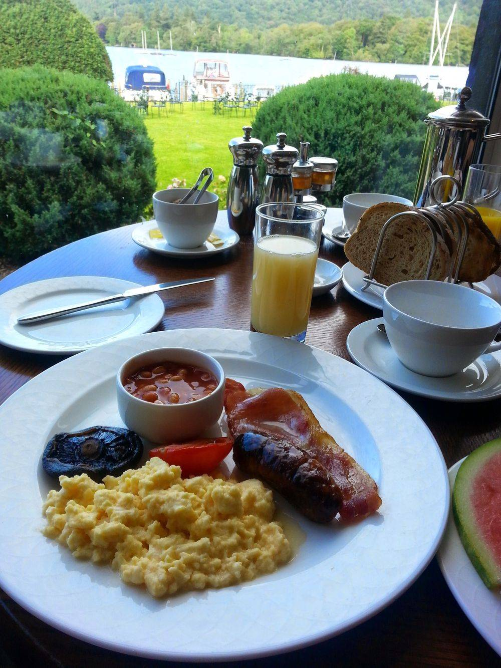 full english breakfast at the lakeside restaurant of  Macdonald Old England Hotel & Spa , british & far east traders, lake district cumbria united kingdom , old english hotels , lake windermere uk , best hotels to stay in lake district uk