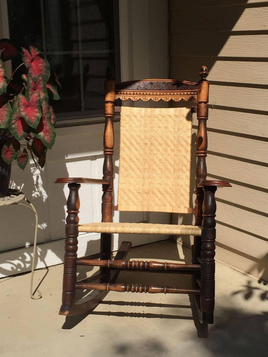 Porch Rocker with 6MM Cane in a Herringbone Pattern done by Hank's Cane & Rush Restoration