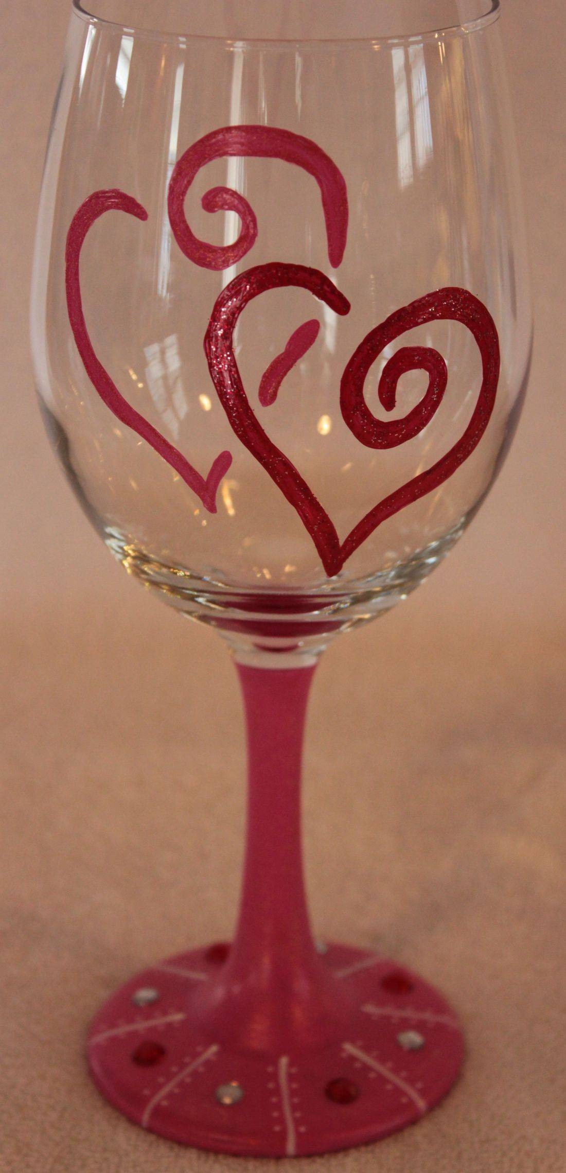 heart wine glass