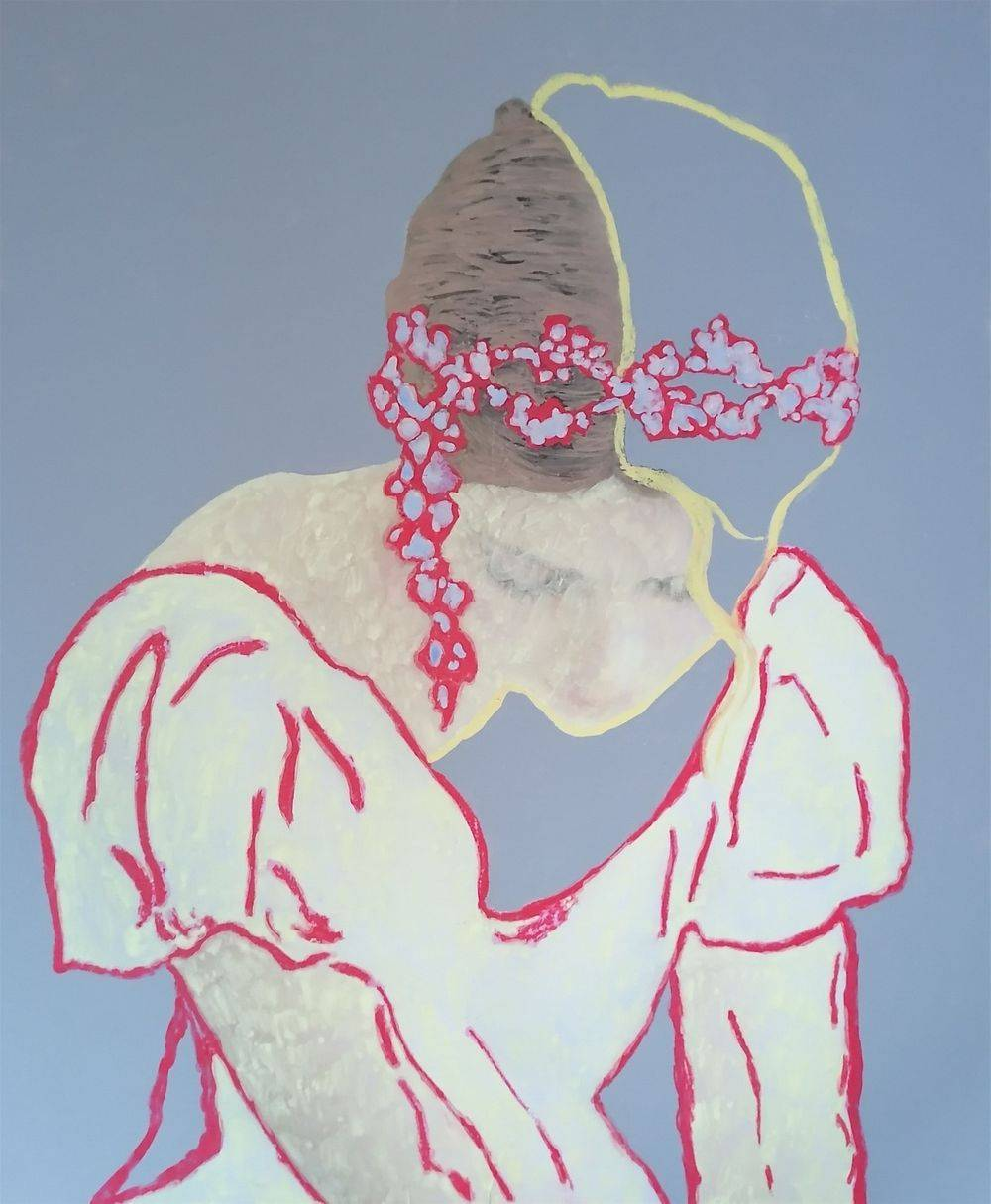 Aquarelle, Acrylique, Craie, Portrait, Femme, Histoire de l'art