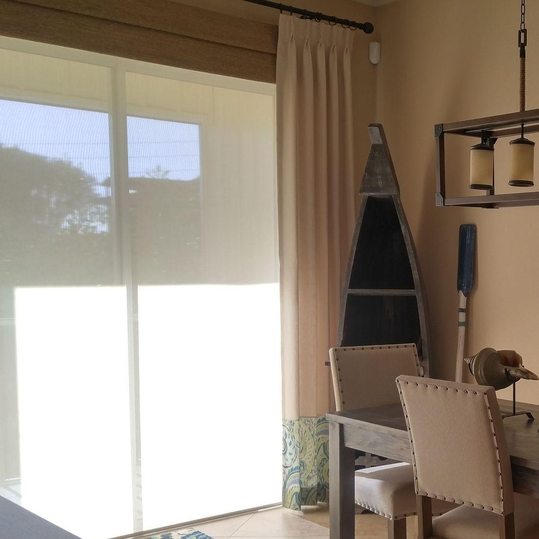 Solar Shades, folded roman cornice, side panels  Indian Rocks Beach Residence