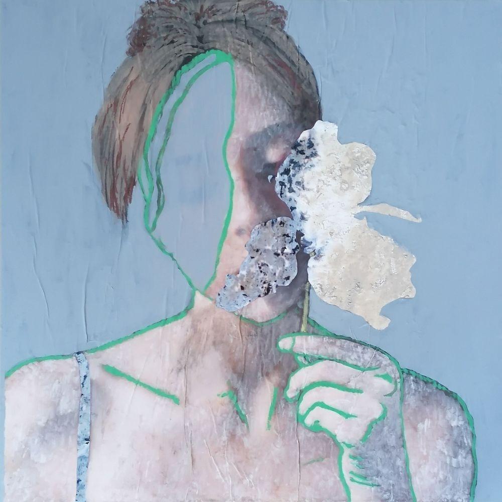 aquarelle, acrylique, craies sèches, femme, portrait, histoire de l'art
