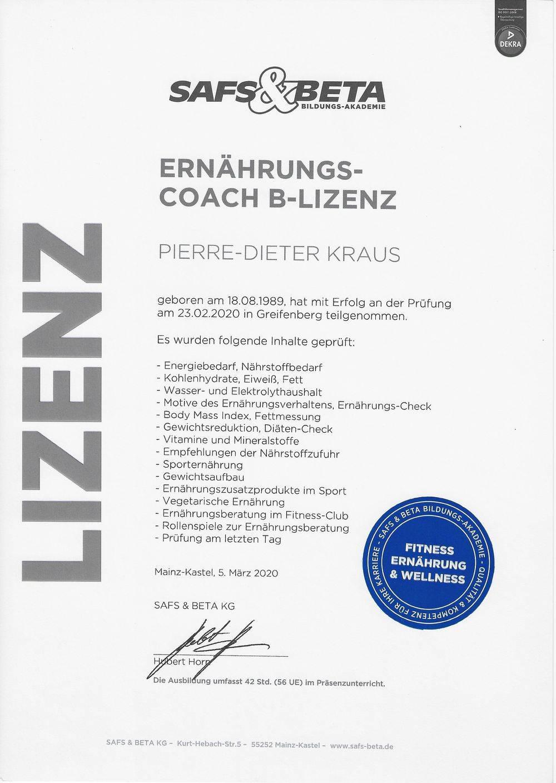 Ernährungs-Coach B-Lizenz