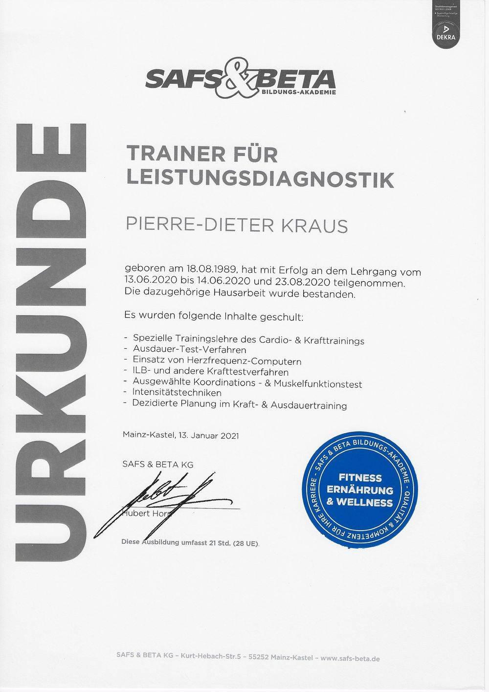 Trainer für Leistungsdiagnostik