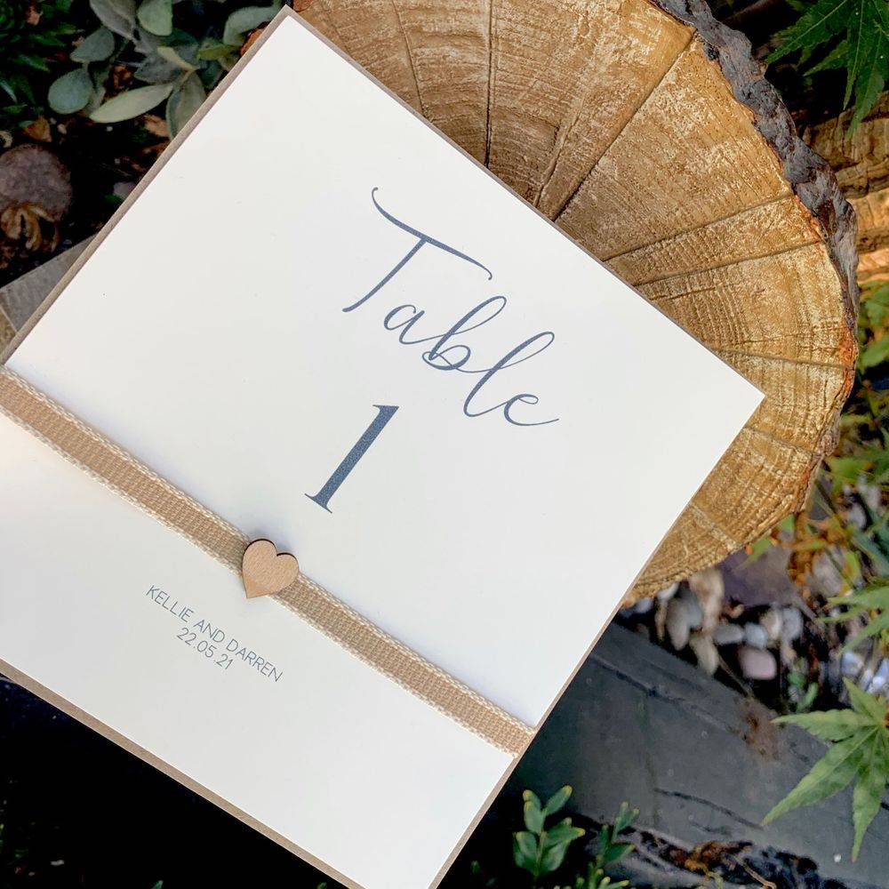 Rustic Table Number with wooden heart