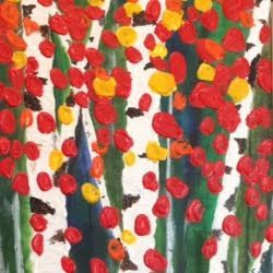 Birches.  Acrylic/Mixed Media on Canvas. Barbara Polc artist. Art And Soul By The Lake. Birches. Fall. Home Decor