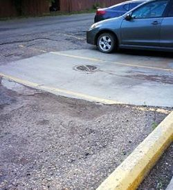 vehicle parking lot grading issue