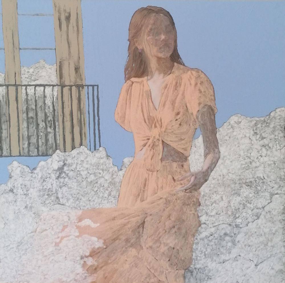 Aquarelle, Acrylique, Bleu, Histoire de l'art, Portrait, Femme, Nuage