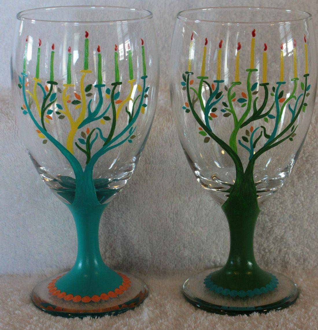 Hanukkah wine glass, menora wine glass
