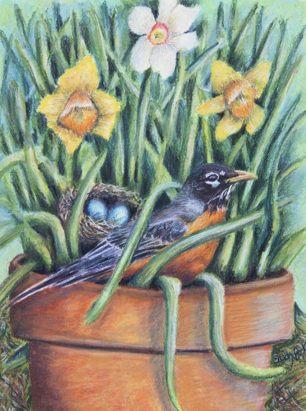pastel illustration art, pastel illustration, custom art, ilustration artist, pastel artist, custom painting, freelance artist, spring, daffodils, robin, robin's eggs, bird nest
