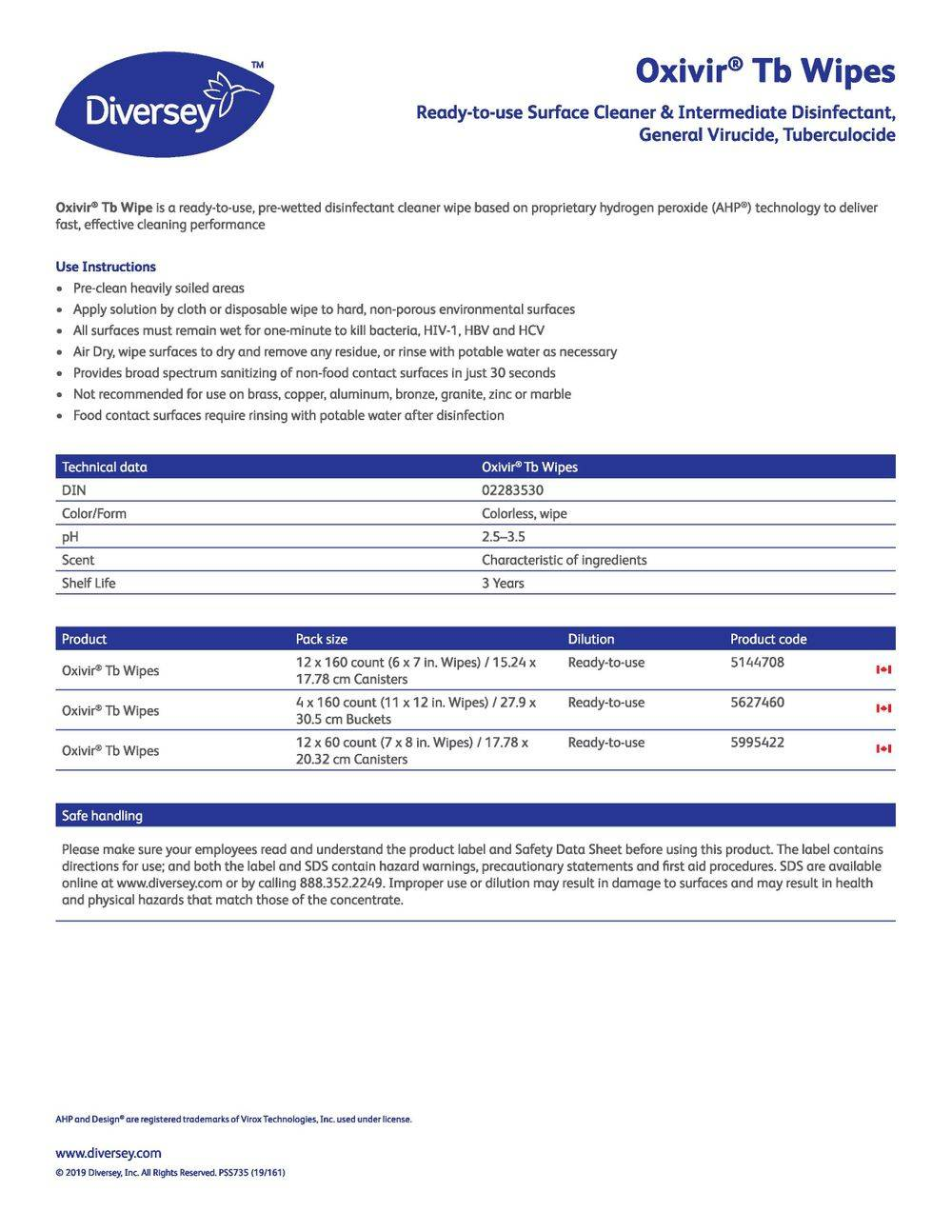Technical Data Information Sheet Oxivir TB Wipes
