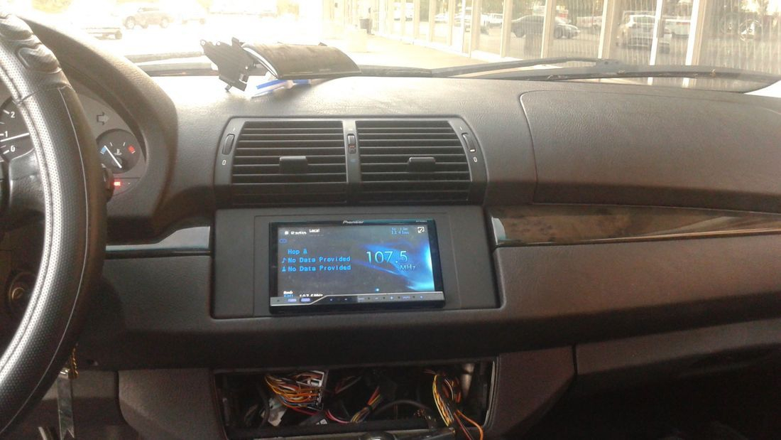 bmw double din radio installation x5