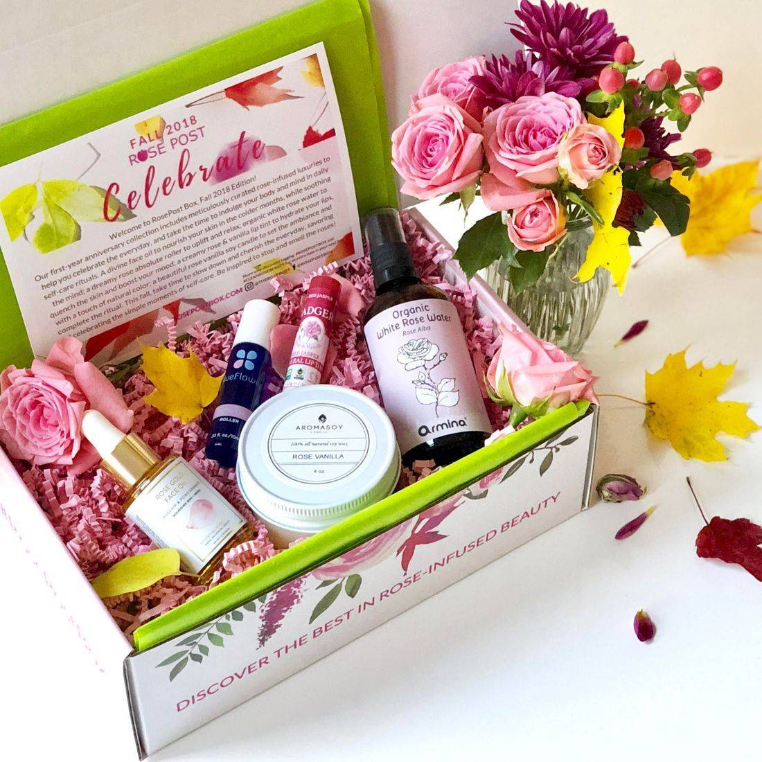 RosePost Box, Green Beauty Box, Summer '18 RosePost Box, Rose-infused Beauty, clean beauty, rose oil skincare