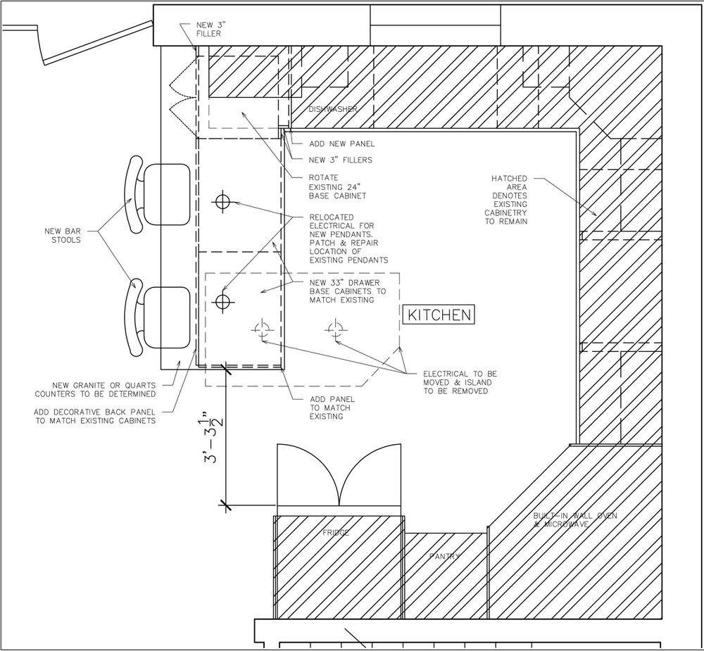 Kitchen renovation, space plan, kitchen design, drafting, construction drawing