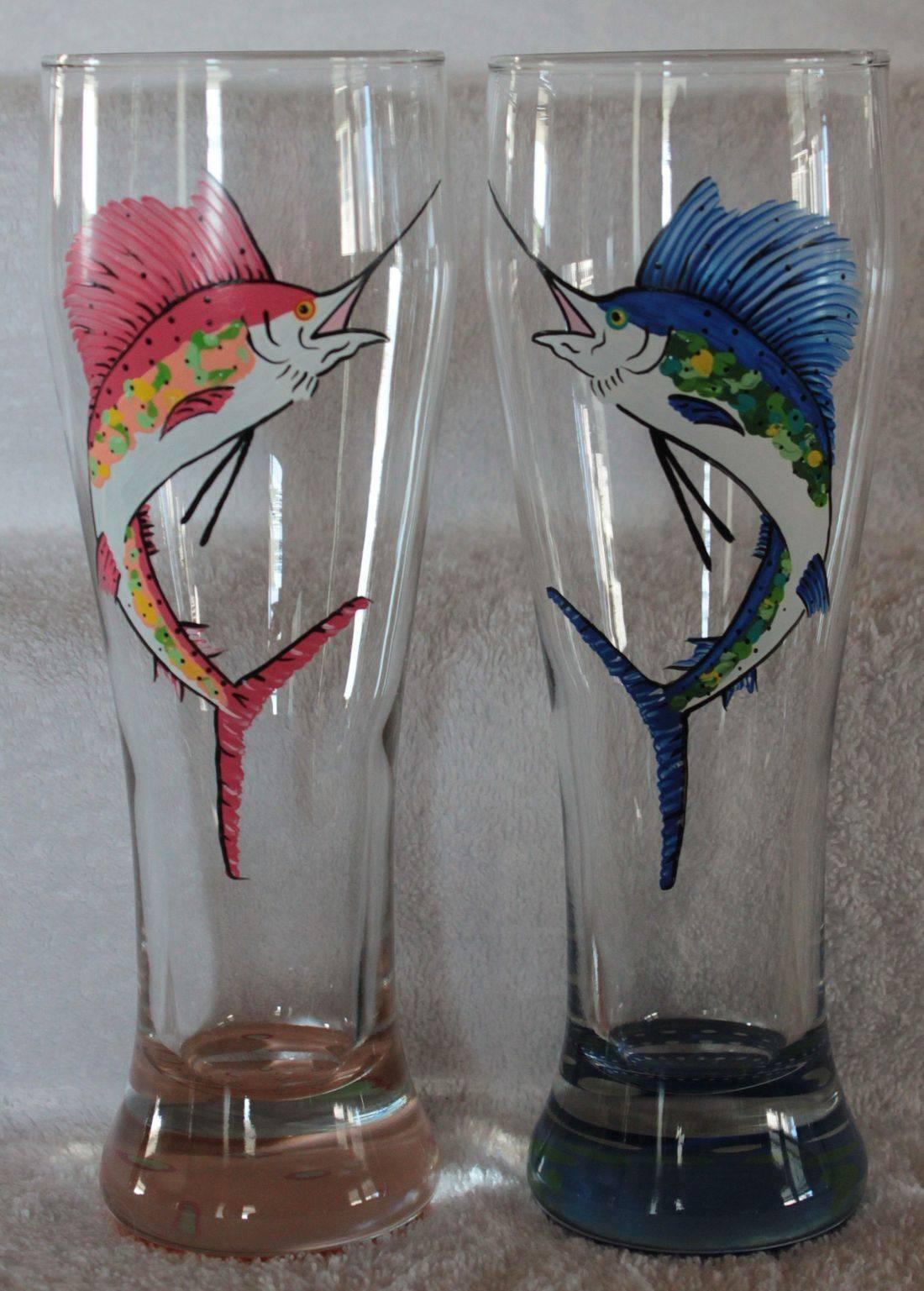 sport fishing wine glass, sport fishing beer glass