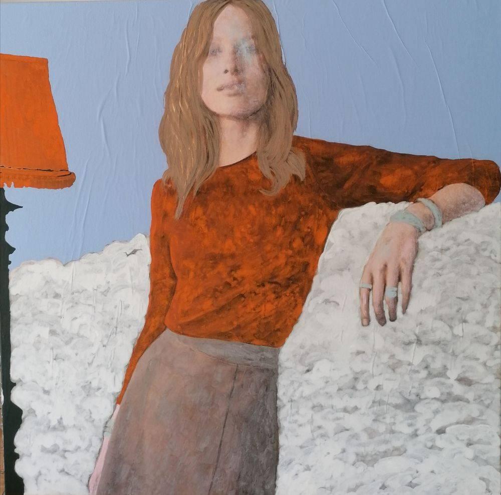 Aquarelle, Acrylique, Bleu, Histoire de l'art, Portrait, Femme, Ciel