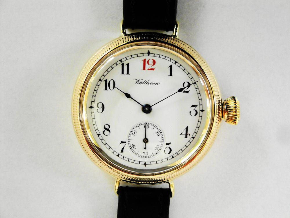 9k Solid Gold 1917 WWI Waltham Dennison RED 12 Trench Watch