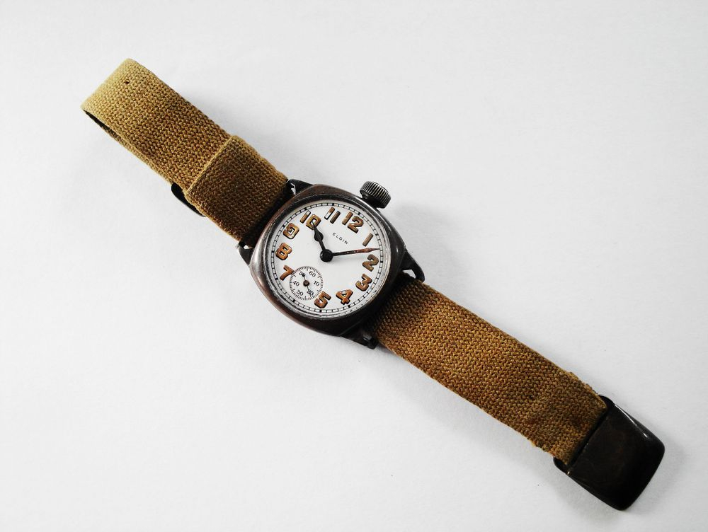 1918 WWI Elgin Trench Watch, Original KHAKI Strap