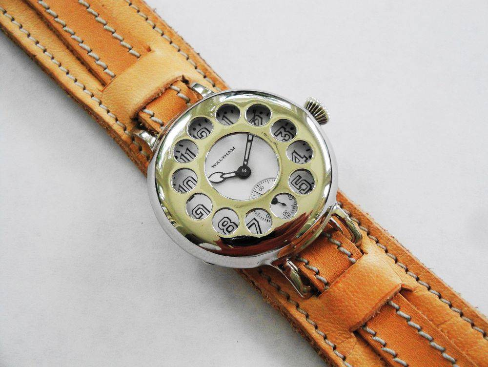WWI Waltham Trench Watch, Telephone Dial Crystal Guard