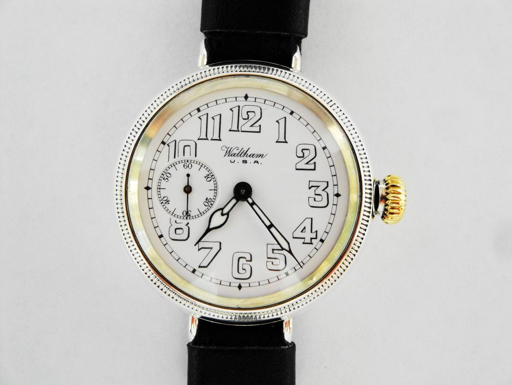 1915 WWI Waltham Dennison Trench Watch, ONLY Enamel Dial of its kind
