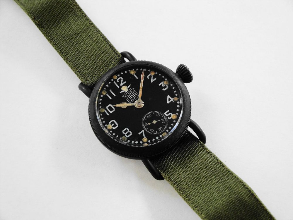 US Army ISSUED WWI 1918 Elgin Black Star Dial Trench Watch
