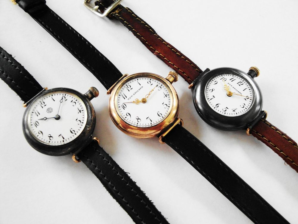 Only Known Complete Set of the 1911 New England Lever Cavours, America's VERY FIRST Men's Wrist Watch