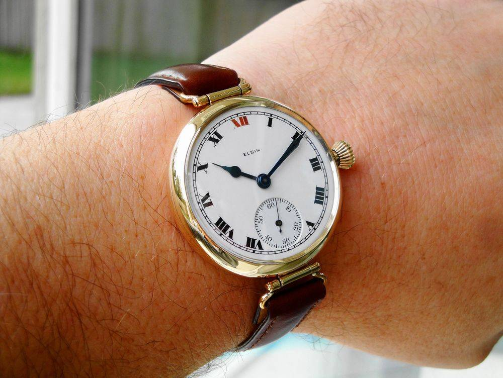 1918 WWI GIANT Size 6s, 39mm Gold Filled Elgin RED XII General Joffre Trench Watch