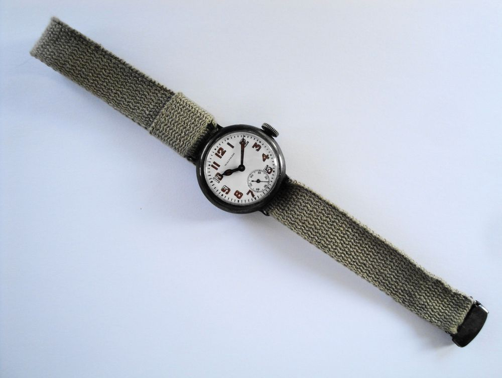 1917 WWI Waltham Depollier KHAKI Trench Watch, Original Strap & Sterling Clasp