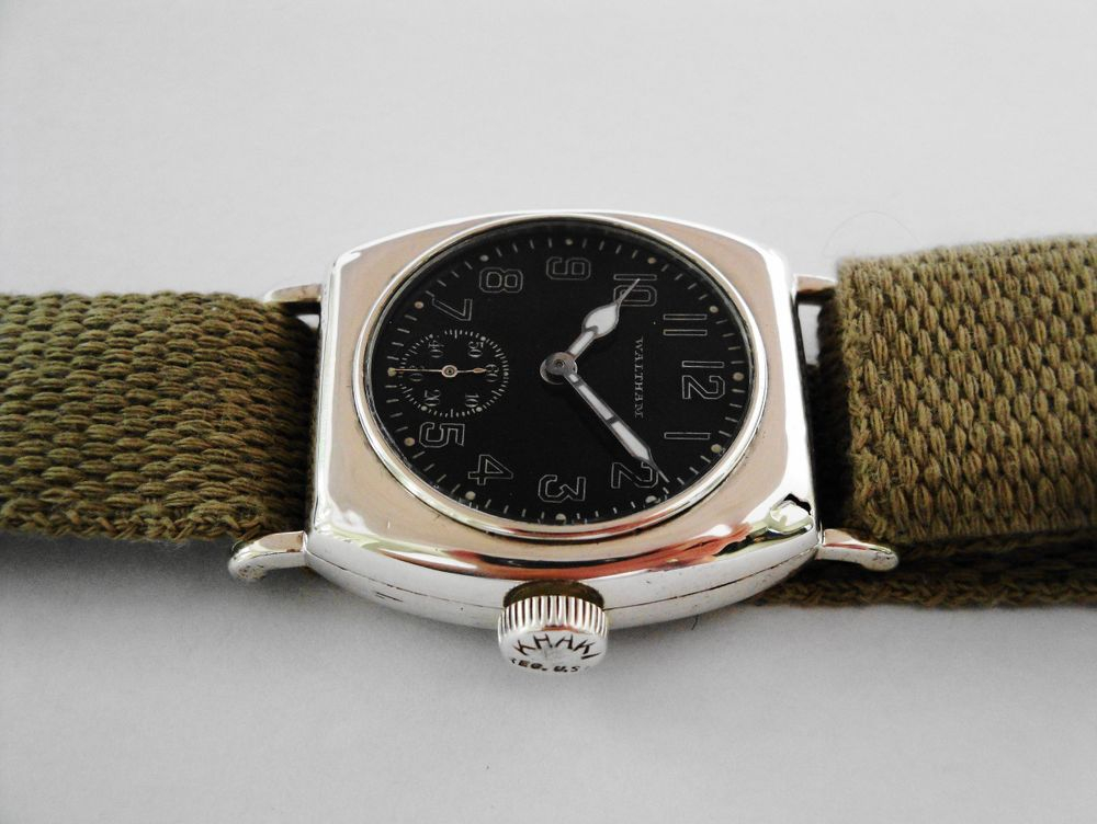 Extremely RARE 1917 WWI Waltham Depollier KHAKI Barrel Case Trench Watch