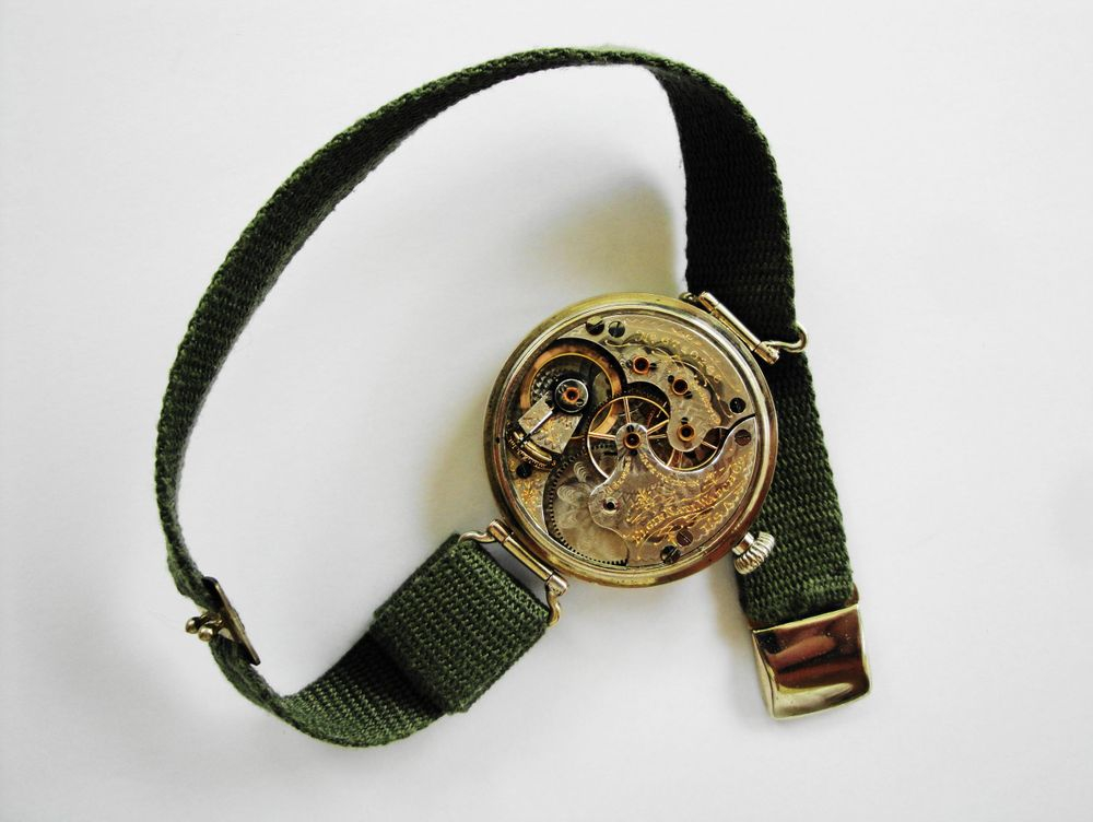 1918 WWI Elgin General Joffre Trench Watch, GIANT 39mm Case