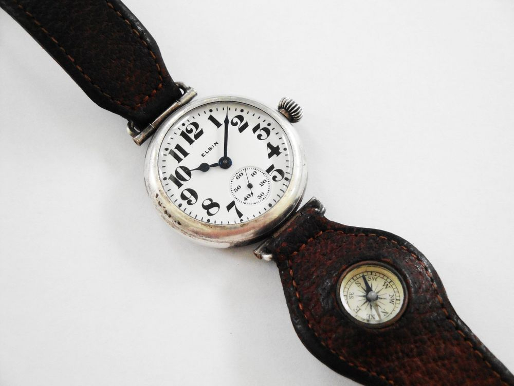 1917 WWI Elgin General Funston Trench Watch with Original Factory Compass Strap