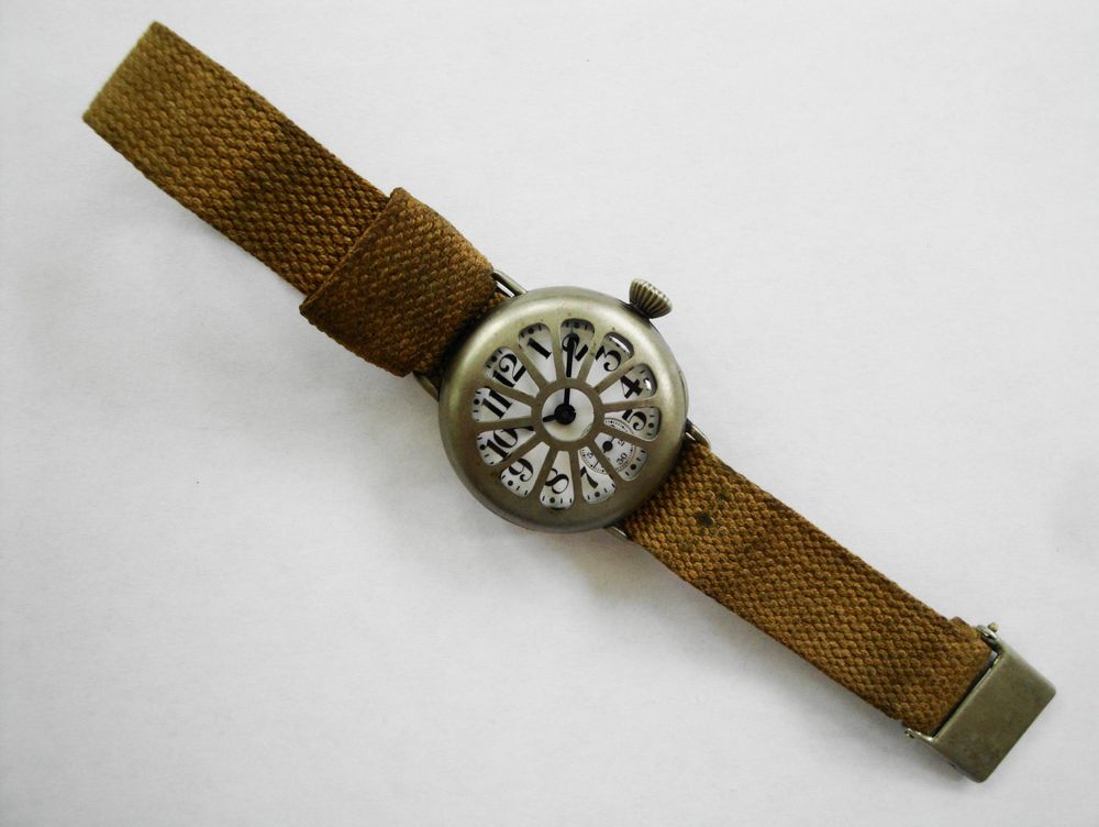 1917 WWI Elgin Trench Watch, Original KHAKI Strap