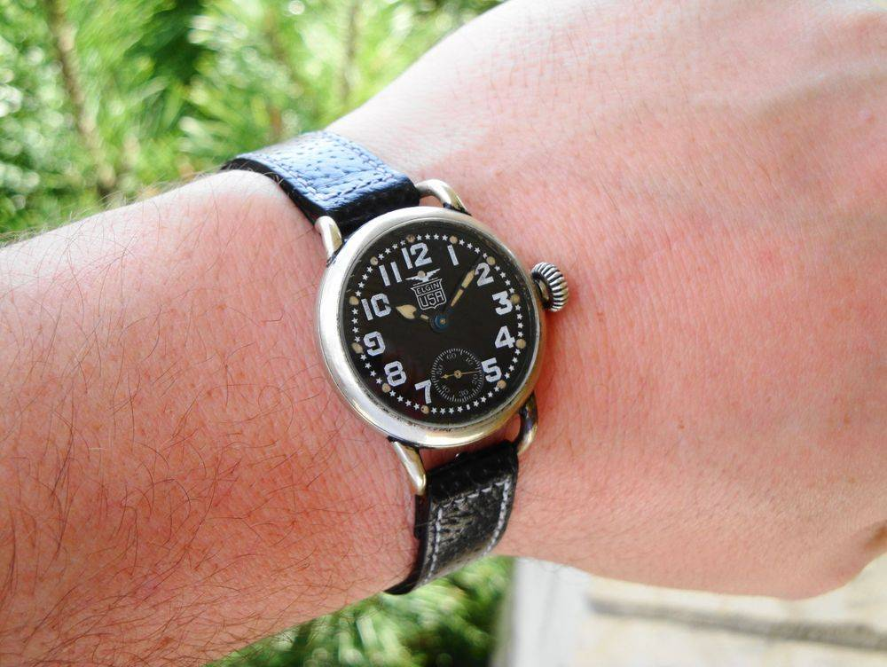 1918 WWI US Army ISSUED Elgin Black Star Dial Trench Watch