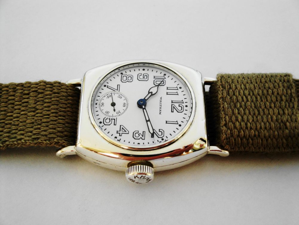 1918 WWI Waltham Depollier KHAKI BARREL Trench Watch
